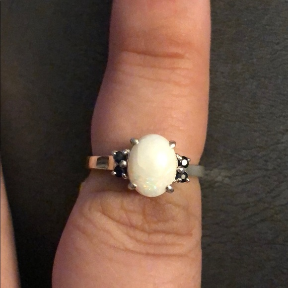 Vintage Jewelry - Sterling Silver, Opal & Blue Sapphire Ring - NWT